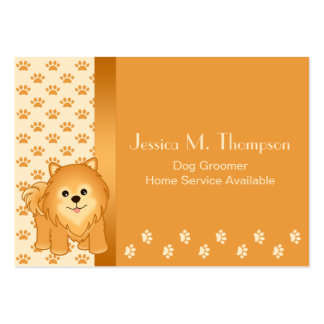 Cute Pomeranian Puppy Dog Pet Services Large Business Cards (Pack Of 100)