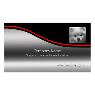Cute Pomeranian Puppy, red swoosh, metallic-effect Business Card Template