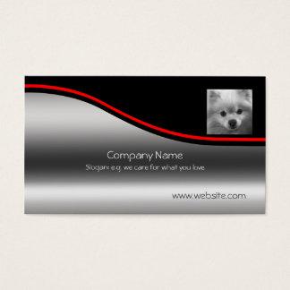 Cute Pomeranian Puppy, red swoosh, metallic-effect Business Card