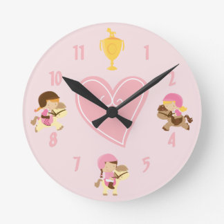 Cute Ponies and Riders Pink Wall Clock