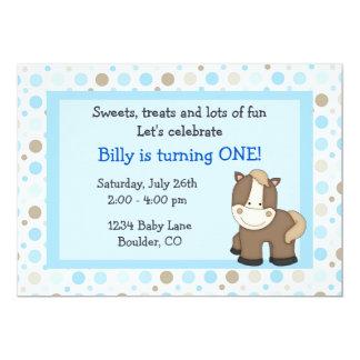 "Cute Pony 1st Birthday Invitation for Boys 5"" X 7"" Invitation Card"
