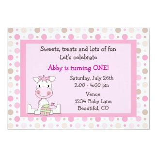 "Cute Pony 1st Birthday Invitation for Girls 5"" X 7"" Invitation Card"