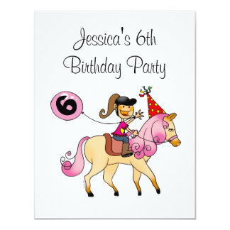 Cute pony and 6th birthday girl party 4.25x5.5 paper invitation card