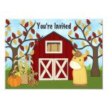 "Cute Pony and Barn Autumn Horse Birthday Invite 4.5"" X 6.25"" Invitation Card"