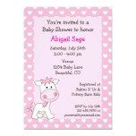 "Cute Pony Baby Girl Shower Invitation 5"" X 7"" Invitation Card"