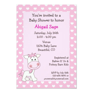 Cute Pony Baby Girl Shower Invitation