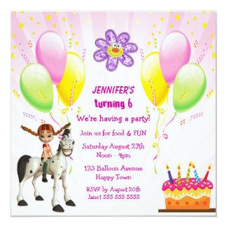 Cute Pony, Cake & Balloons Birthday Party Invites