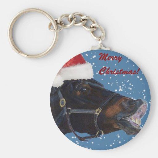 Cute Pony Christmas Basic Round Button Keychain