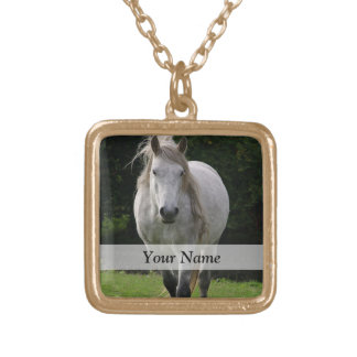 Cute pony photograph gold plated necklace