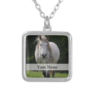 Cute pony photograph silver plated necklace