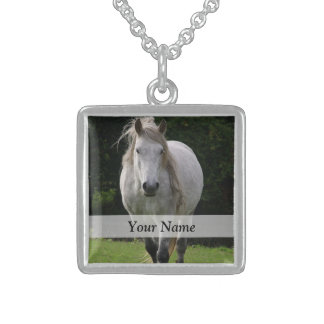 Cute pony photograph sterling silver necklace
