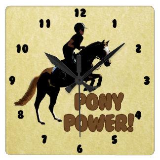 Cute Pony Power Equestrian Square Wall Clock
