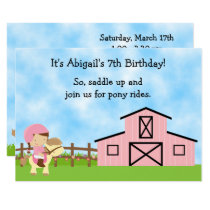 Cute Pony Rides and Pink Barn Horse Birthday Invitation