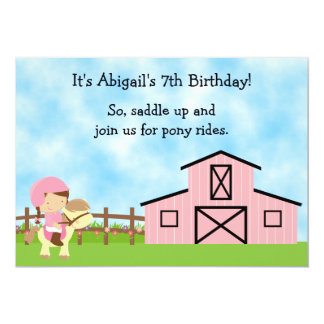 Cute Pony Rides and Pink Barn Horse Birthday Party 5x7 Paper Invitation Card