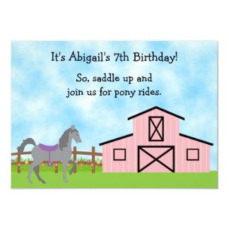 Cute Pony Rides Horse Birthday Invitation ~ Girls