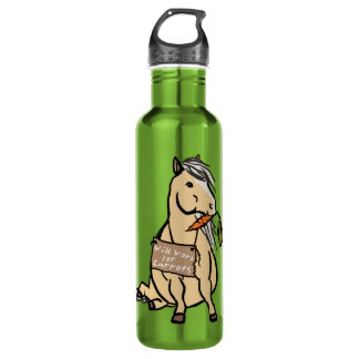 Cute Pony Will Work For Carrots 24oz Water Bottle