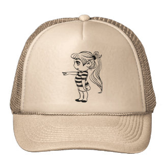 Cute Ponytail Girl in Shorts Trucker Hat