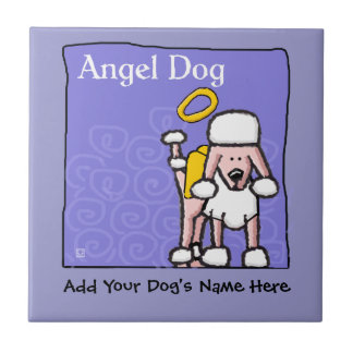 Cute Poodle Angel Dog Memorial Ceramic Tile
