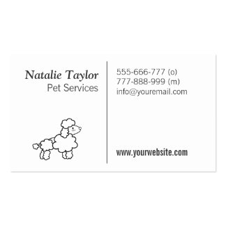 Cute Poodle, Black and white, Pet Services Double-Sided Standard Business Cards (Pack Of 100)