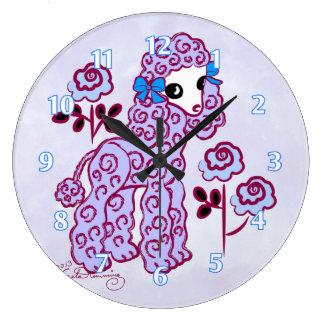 Cute Poodle Blue Clocks
