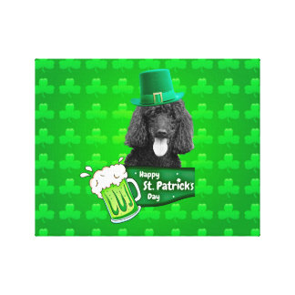 Cute Poodle Dog Hat St. Patrick Day w Clovers Canvas Print
