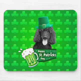 Cute Poodle Dog Hat St. Patrick Day w Clovers Mouse Pad