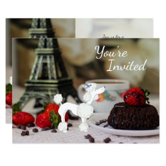 Cute Poodle Eiffel Tower Paris Birthday Invitation