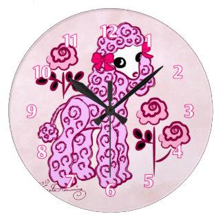 Cute Poodle Pink Clock