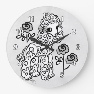 Cute Poodle White Wall Clock