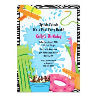"Cute Pool Birthday Invitation 5"" X 7"" Invitation Card"