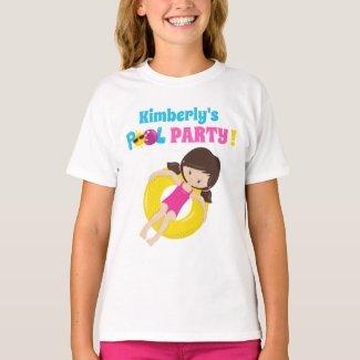 Cute Pool Party Birthday Girl Custom Name T-Shirt
