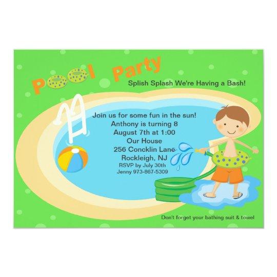 Cute Pool Party Boys Birthday Invitation