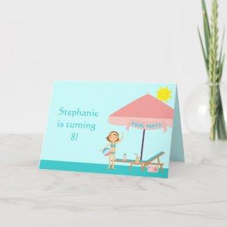 Cute pool party girl's birthday card invitation card