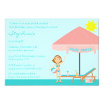 Cute pool party girl's birthday party invitation
