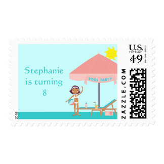 Cute pool party girl's birthday postage stamps