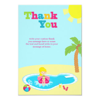 Cute pool party girls birthday thank you card