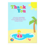 Cute pool party girls birthday thank you card custom invites