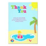 Cute pool party girls birthday thank you card custom invites