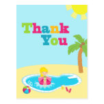 Cute pool party girls birthday thank you post card