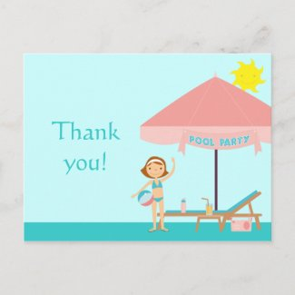 Cute pool party girl's thank you postcard postcard