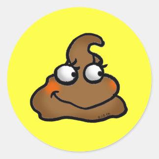 Cute poop classic round sticker