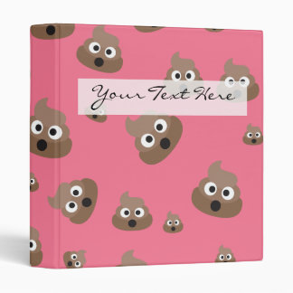 Cute Poop Emoji Pattern 3 Ring Binder