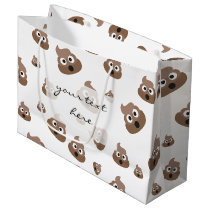 Cute Poop Emoji Pattern Large Gift Bag