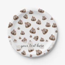 Cute Poop Emoji Pattern Paper Plate