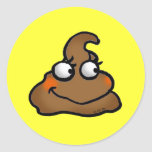Cute poop round stickers