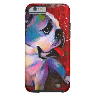 Cute Pop Art American English Bulldog art painting Tough iPhone 6 Case