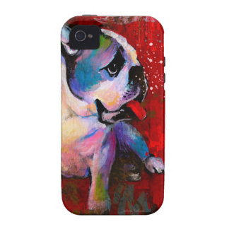 Cute Pop Art American English Bulldog art painting Case-Mate iPhone 4 Cover