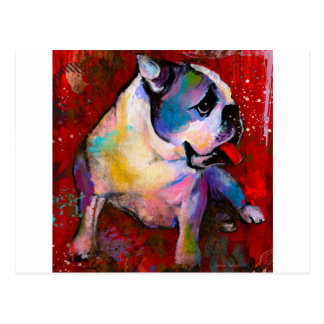 Cute Pop Art American English Bulldog art painting Postcard