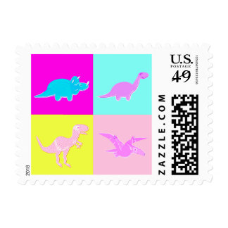 Cute Pop-Art Dinosaurs Postage Stamps