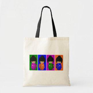Cute Pop Art Kokeshi Dolls Budget Tote Bag